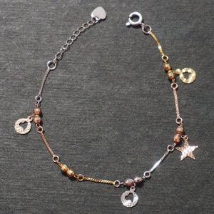 Tri gold Sending Hearts Charm Bracelet